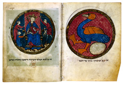 North French Miscellany, c.1280, judgement of Solomon and mythical bird
